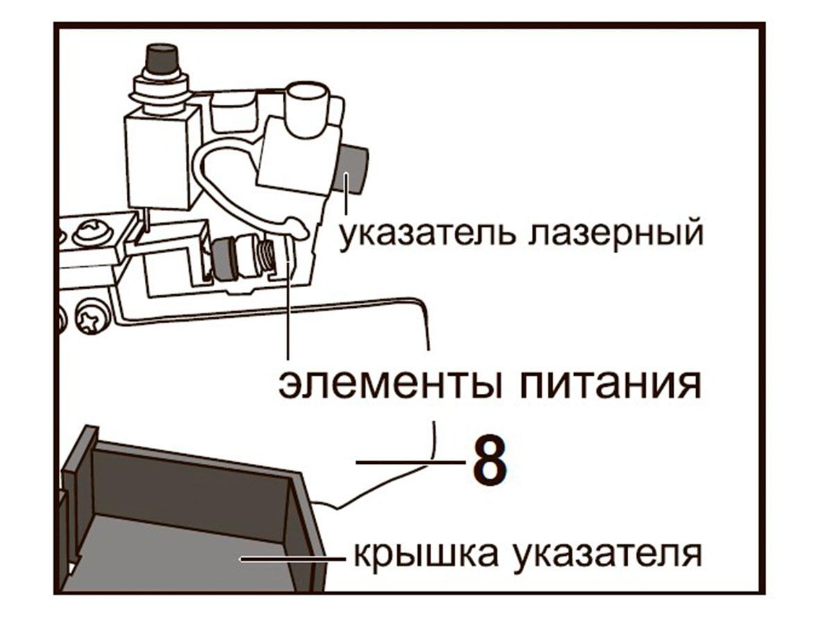 Подключение (при необходимости) батареек лазерного указателя:
